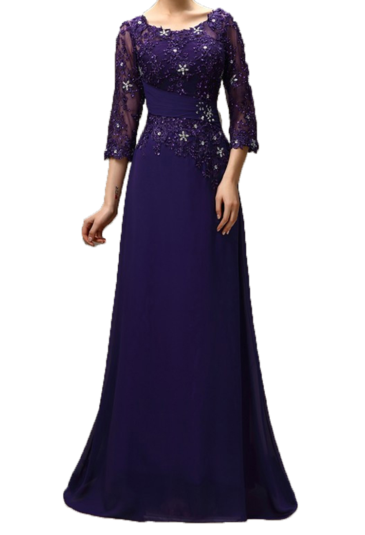 2020 Purple Long Mother Of The Bride Dresses Plus Size A-line 3/4 Sleeves Chiffon Lace Beaded Long Elegant Groom Mother Dresses