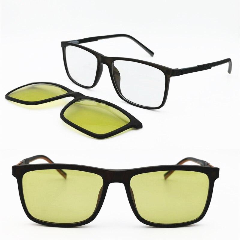 new arrival photo chromatic square prescription eyeglasses with megnatic clip on yellow polarized sunglasses night vision lenses