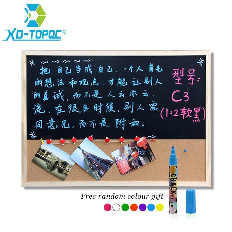 30*40cm Chalkboard Cork Board Wooden Blackboard Combination Board 1:2 Wood Frame Message Drawing Bulletin Boards Free Shipping