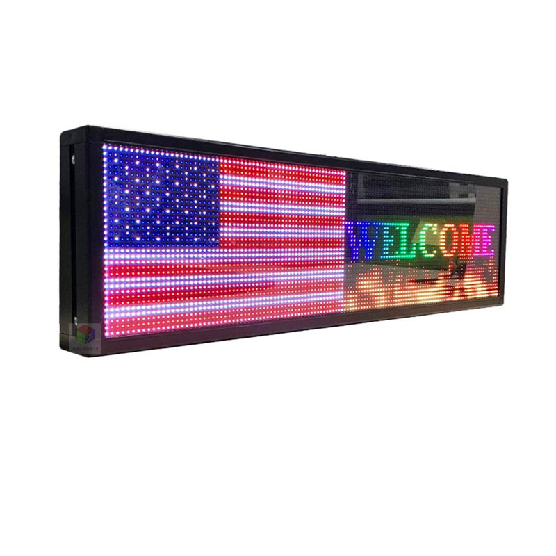 26X8 inch LED advertising <font><b>sign</b></font> P5 indoor full color LED display scrolling text Red green blue white yellow and blue <font><b>billboard</b></font> image