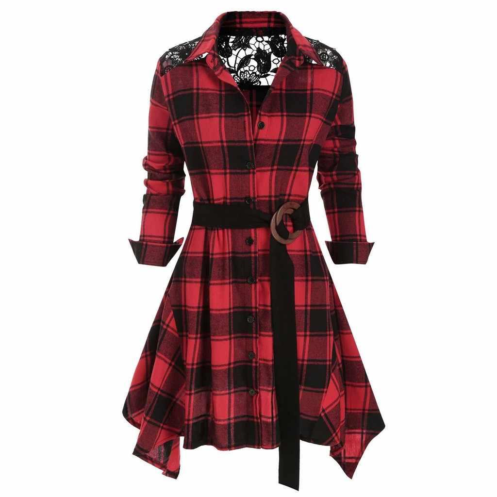 Missomo 긴 소매 티셔츠 여성 느슨한 격자 무늬 인쇄 레이스 스플 라이스 티 셔츠 femme 의류 여성 탑스 camisetas feminina 10