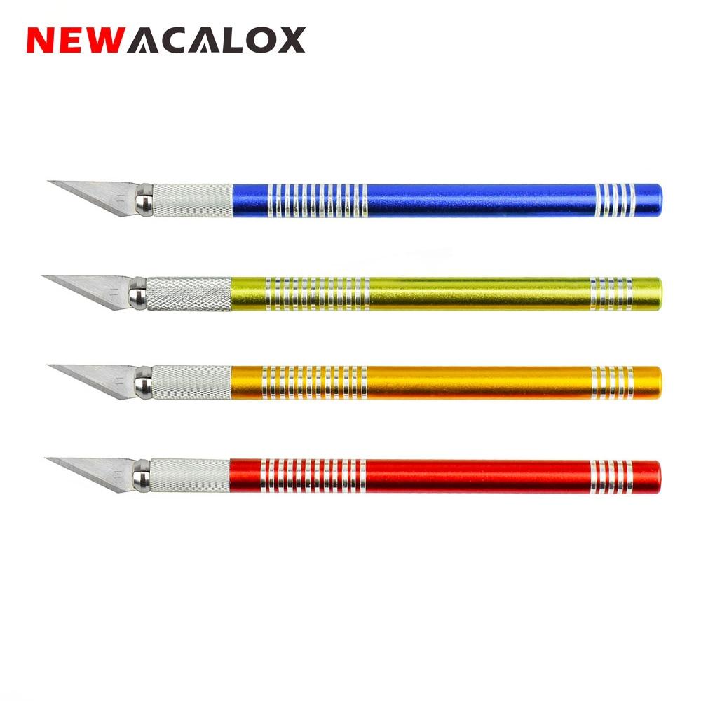 NEWACALOX Precision Hobby Knife 19PCS Hojas de acero inoxidable para manualidades Artes Reparación de PCB Películas de cuero Herramientas Pluma Multi Navaja DIY