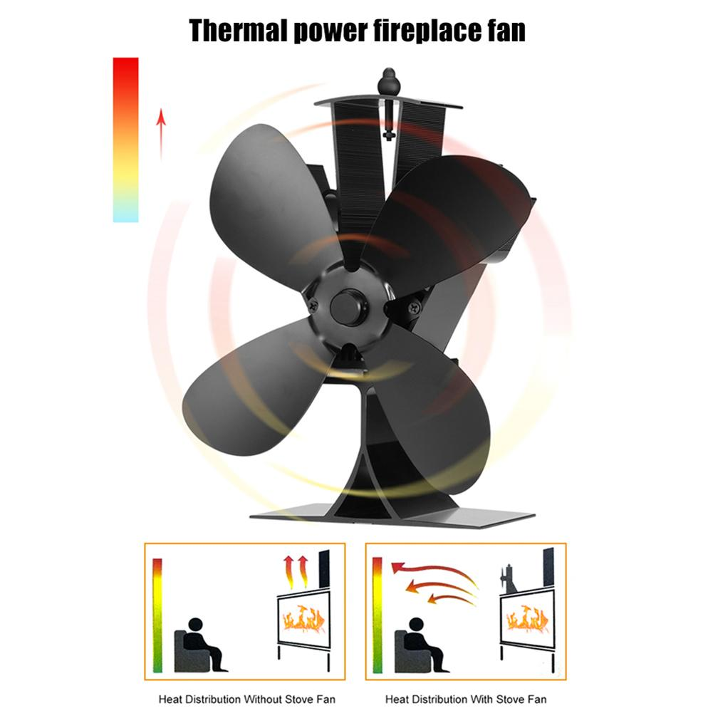 Durable Aluminum 4 Blades Silent Heat Powered Fireplace Stove Fan For Winter Home Wood Log Burning Fireplace Accessories