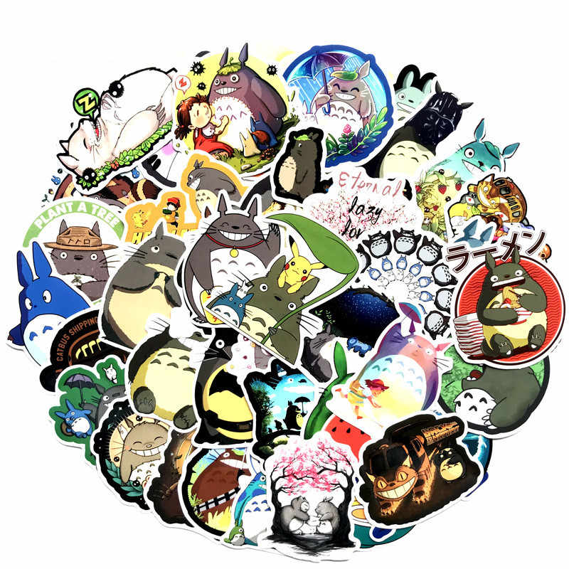 64pcs Totoro Anime Cartoon Stickers Scrapbook Suitcase Skateboard Laptop Motorcycle Stikers Racing Waterproof Decor Sticker Pack