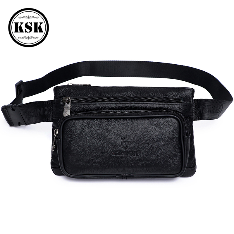Men's Waist Pack Leather Fanny Pack Waist Bag Male Genuine Leather Bag Fashion Luxury Belt Bags Small Shoulder Bags For Men KSK