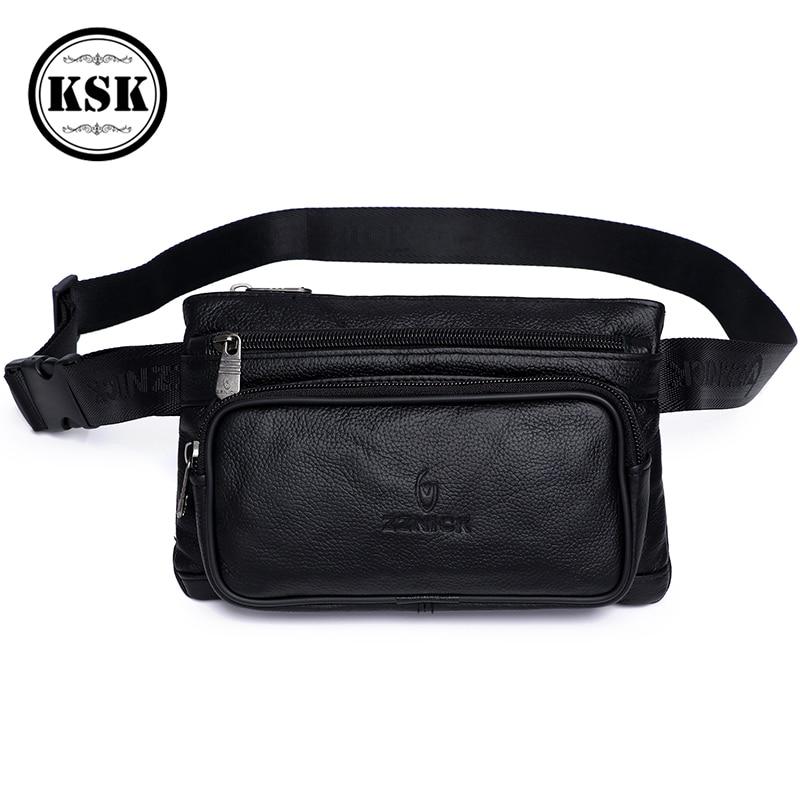 Men's Waist Pack Leather Fanny Pack Waist Bag Male Genuine Leather Bag Fashion Luxury Belt Bags Small Shoulder Bags For Men KSK