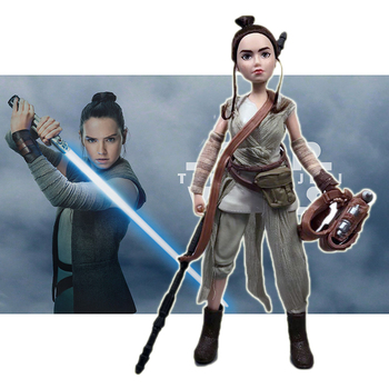 Star Wars Cartoon Version of Jedi Knight Rey Princess Leia 11-inch Action Figure Model Toy PVC Doll Creative Gift for Children