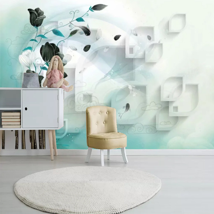 Modern Minimalist TV Background Wallpaper Living Room Bedroom Wallpaper Green Dreamy Flower Fairy Magnolia Rose Mural