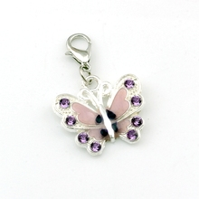 5pcs PURPLE Rhinestone Enamel Butterfly Floating Lobster Clasps Charm Beads Fit Bracelet DIY Jewelry  22x34.5mm A-508b