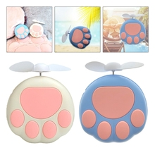 Cute Cat Paw Shaped Portable Handheld Mini Air Cooler Fan USB Rechargeable Small Personal Cooling Tools for Home Office