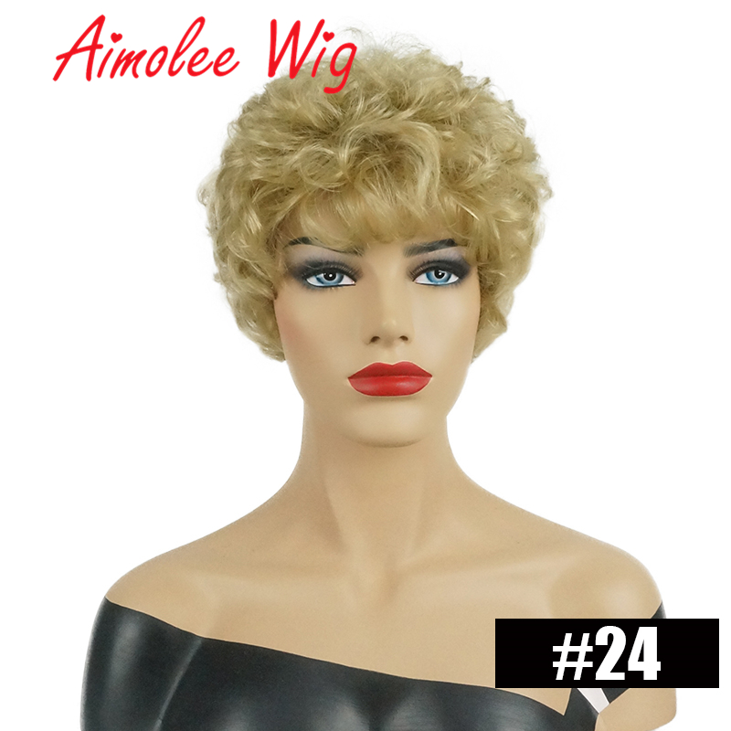 Short Natural Wave Hair Wig Fluffy Black Gold Highlight Color Blend Human Hair Synthetic Wig For Women Daily Work Party Hair