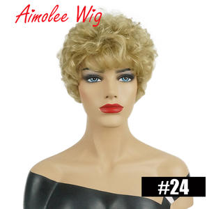 Wig Synthetic-Wig Human-Hair Short for Women Daily-Work Black Highlight Fluffy Color-Blend
