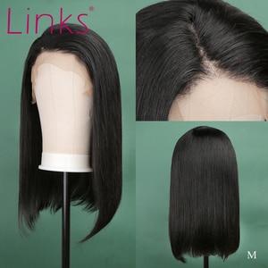 Linki 13X4 koronki przodu włosów ludzkich 10-16 Cal peruki brazylijski prosto krótki bob koronki przodu włosów ludzkich Remy peruki Natural Color L