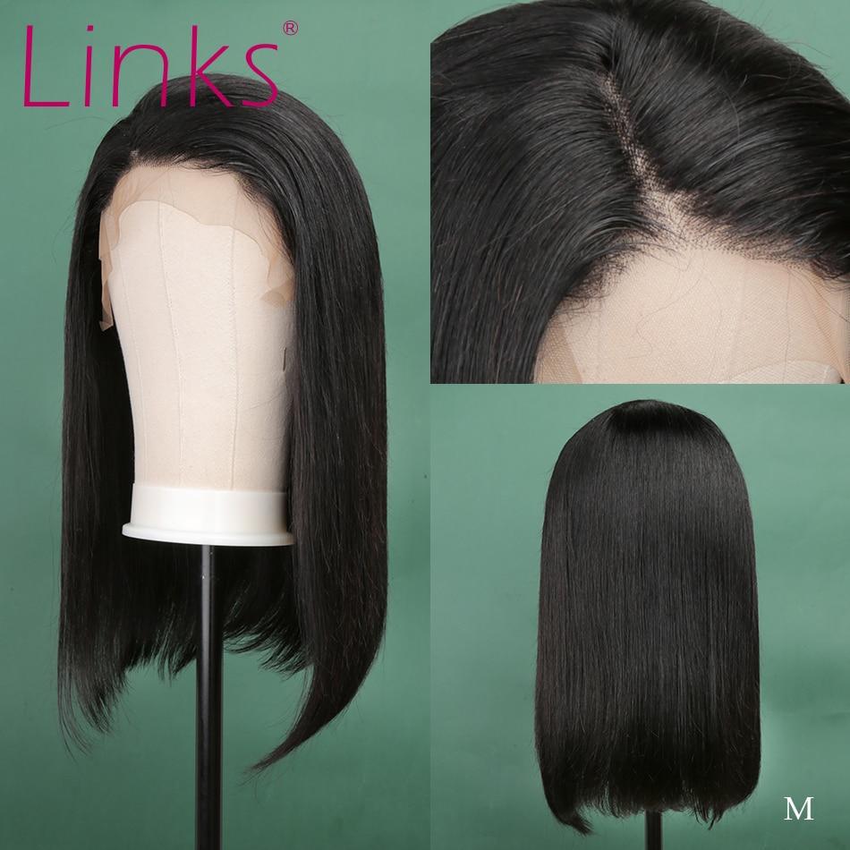 Perruque Bob Lace Front wig brésilienne naturelle Remy-link | Cheveux lisses, coupe au carré, 13x4, 10- 16 pouces, couleur naturelle, cheveux humains
