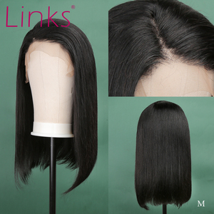 Links 13X4 Lace Front Human Hair 10- 16 Inch Wigs Brazilian Straight Short Bob Lace Front Human Hair Remy Wigs Natural Color L(China)