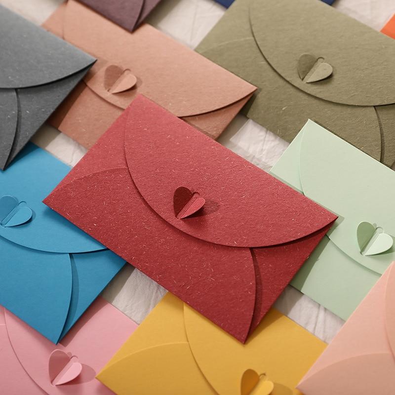 10pcs/lot Mini Love Envelopes Kawaii Card Wedding Invitations New Year Greeting Cards Christmas Cards Cute Envelopes
