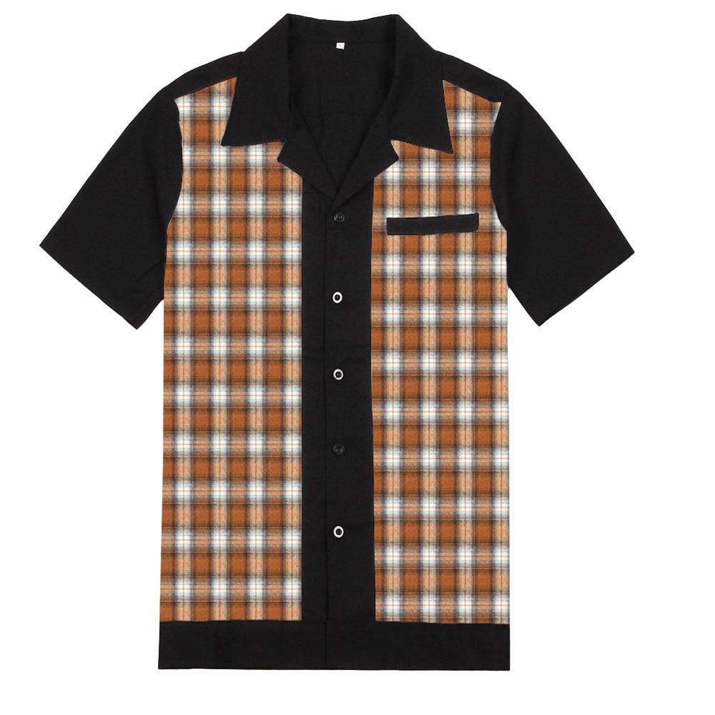 50s Rockabilly Shirts Men Vintage Punk Rave Shirts Short Sleeve Plaid Printed Rolling Rock Shirt Casual Hip Hop Dress Shirts Men