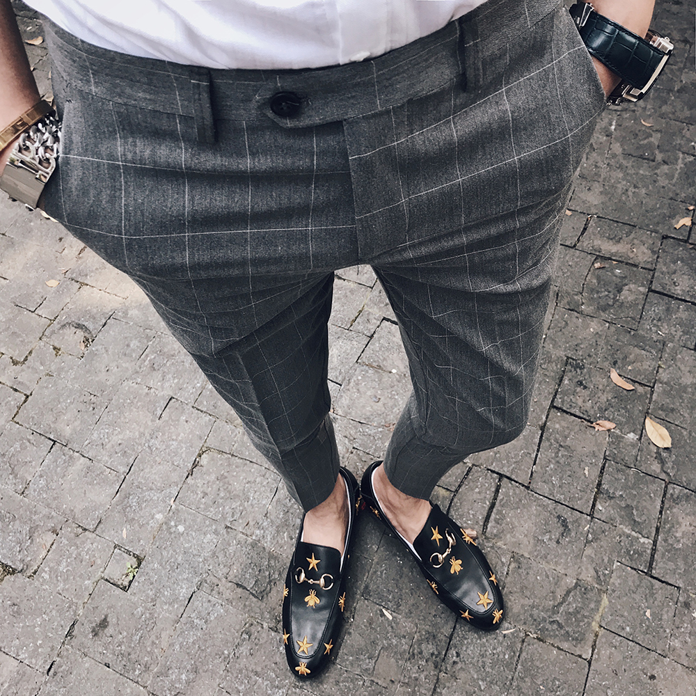British Pants Mens Skinny Formal Trousers Black Plaid Pants Mens Calca Social Trousers Mens Business Pants Pantalon Azul Hombre