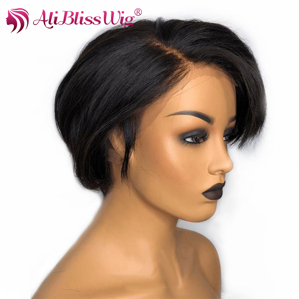 13x4 Lace Front Wigs Human Hair Lace Wigs For Black Women Short Bob Human Hair Wigs Pre Plucked Pixie Cut Wig Straight Remy Hair