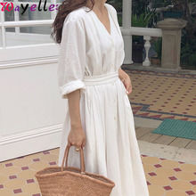 Autumn Vintage Elegant Linen Women Dress New Casual Cotton Pleated Long Lady White V-Neck Lace Up Bow Female
