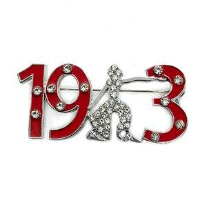 Rhinestone inlaid red enamel number 1913 metal brooch DELTA SIGMA THETA sorority society jewelry pin(China)