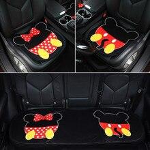 Almofada de carro dos desenhos animados mouse universal adorável único almofada bonito pelúcia calor três peças assento traseiro