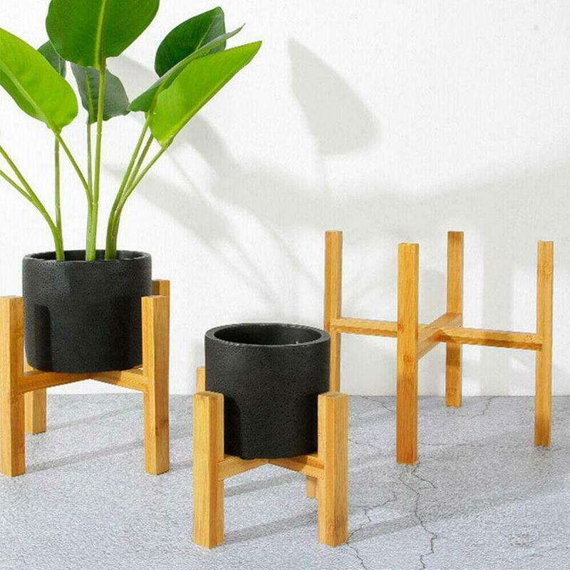 Wooden Four-legged Flower Stand Strong Durable Free Stand Bonsai Holder Home Garden Decor Plant Display Pot Shelf Bamboo Tray