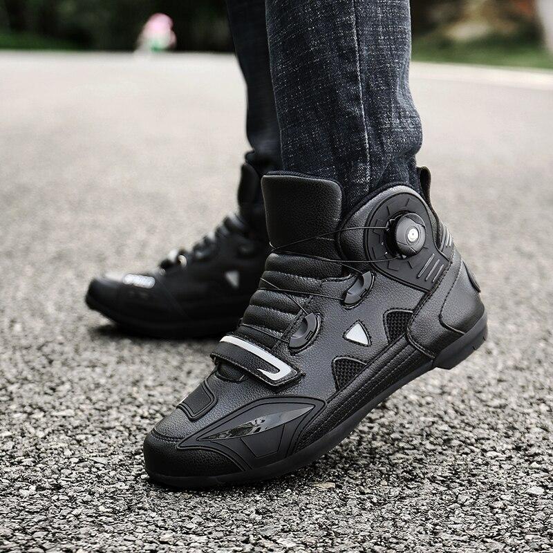 Czarne buty na motocykl Biker wodoodporne buty wyścigowe Motocross mężczyźni kobiety miękkie antypoślizgowe motocyklowe konna Botas Moto