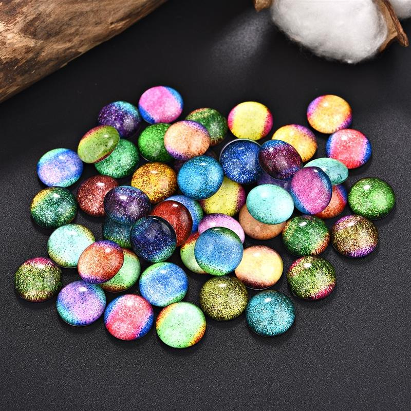50Pcs Mixed Colorful Bling Star Rainbow Round Glass Cabochons 12/20/25mm Flat Back Demo Cameo Base Blank Tray DIY Jewelry Making