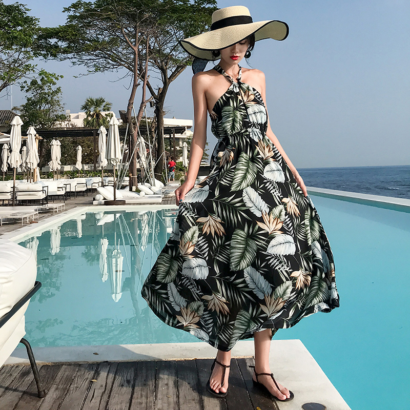 Summer Floral Print Women Sundress Boho Tropical Long <font><b>Sexy</b></font> Lady Vacation Sleeveless Vintage Elegant Maxi Beach <font><b>Dress</b></font> Runway 2020 image