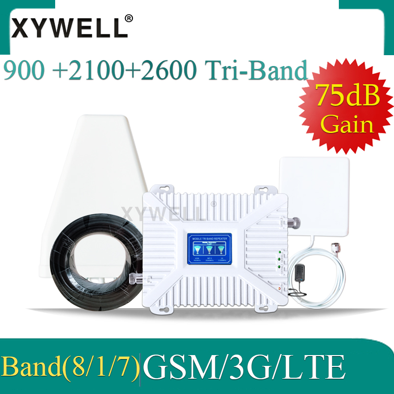 New!! Tri Band 900/2100/2600 4g Booster GSM Signal Booster 2G 3G 4G 75dB GSM UMTS LTE Mobile Phone Repeater GSM 3g 4g Amplifier