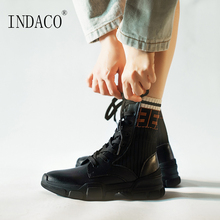 Women Boots Long Winter Leather 5cm Big Size