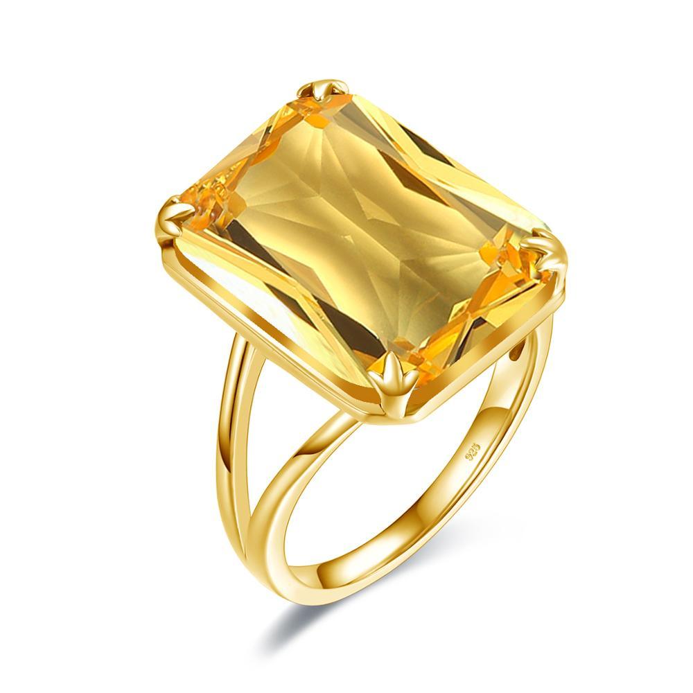 Szjinao argent anneaux pour femmes 925 argent Sterling jaune Cristal brillant créé Citrine bague de créateur plaqué or bijoux fins