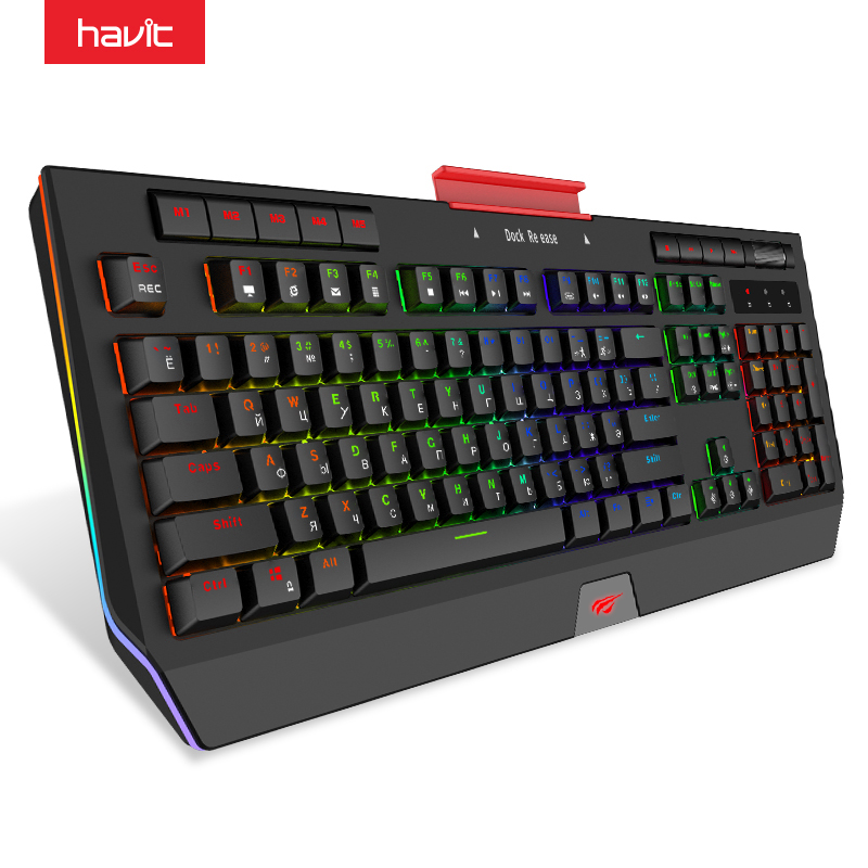 HAVIT Mechanical Keyboard USB Wired 104 Keys Blue Switch Gaming Keyboard Multifunctional Full Color RGB Side Light Phone Holder