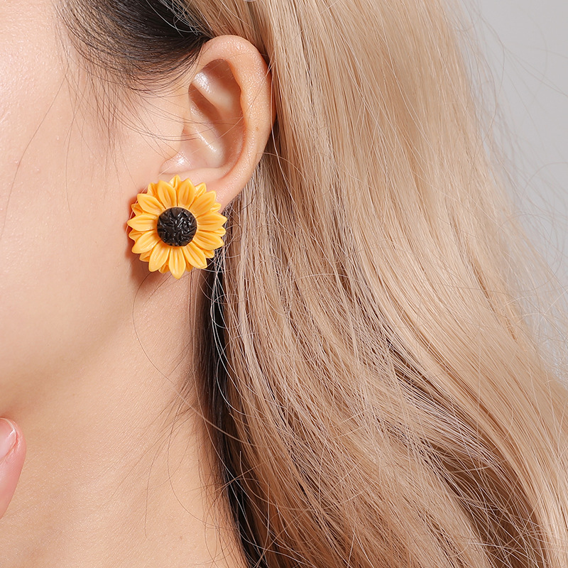 Jisensp New Arrival Cute Sunflower Earrings Fashion Jewelry Statement Earrings For Women Love Gift Boucle D'oreille Femme 2019