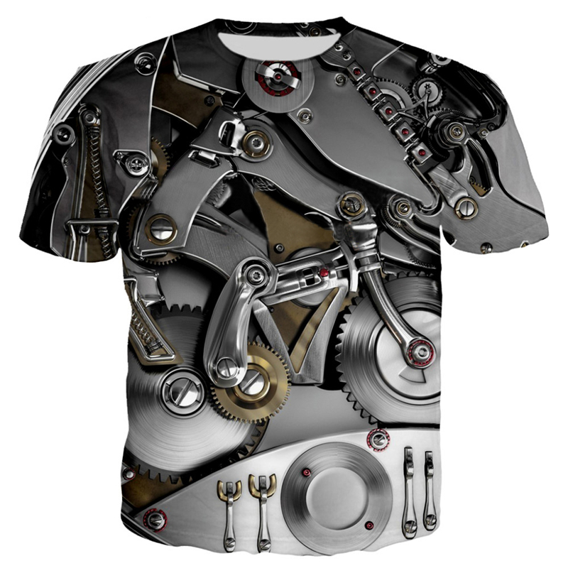3D Motorcycle T-shirt Punk Clothing Retro Clothes Mechanical Tshirt Tops Tees Men Summer Funny Print T-shirt Mens Tee Plus Size