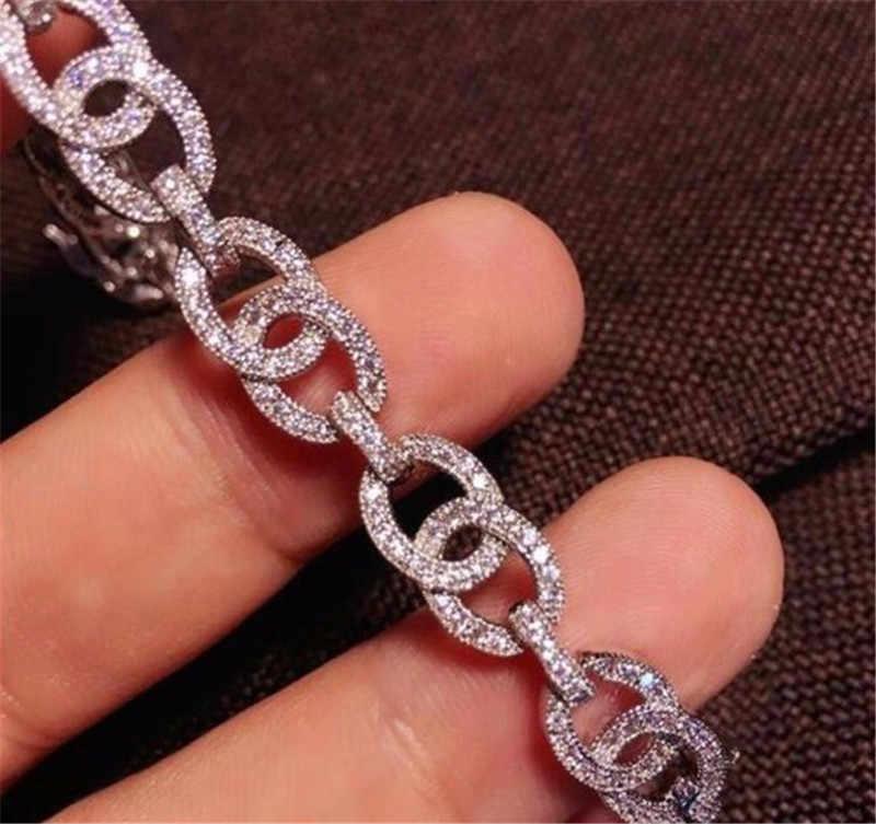 Tennis Diamanten Armband 925 Sterling Zilver Engagement Wedding Chain Armbanden Voor Vrouwen Mannen Iced Out Party Sieraden Gift