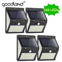 Goodland — Lampe solaire à 100 ou 144 LED avec détecteur de mouvement PIR, applique murale, éclairage d'extérieur, luminaire de paysage, idéal pour la rue ou comme décoration de jardin