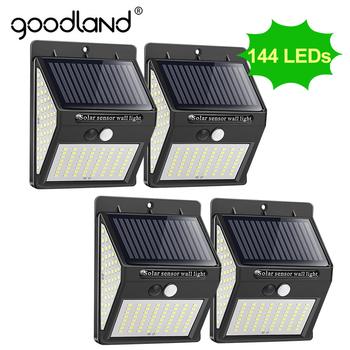 Goodland 144 100 LED lampa słoneczna zewnętrzna lampa solarna PIR czujnik ruchu zasilany energią słoneczną światła uliczne do dekoracji ogrodu tanie i dobre opinie CN (pochodzenie) ROHS Outdoor LED Light 1 year Solar Light IP65 3 7 V Brak Żarówki led Nowoczesne Awaryjne Bateria litowa