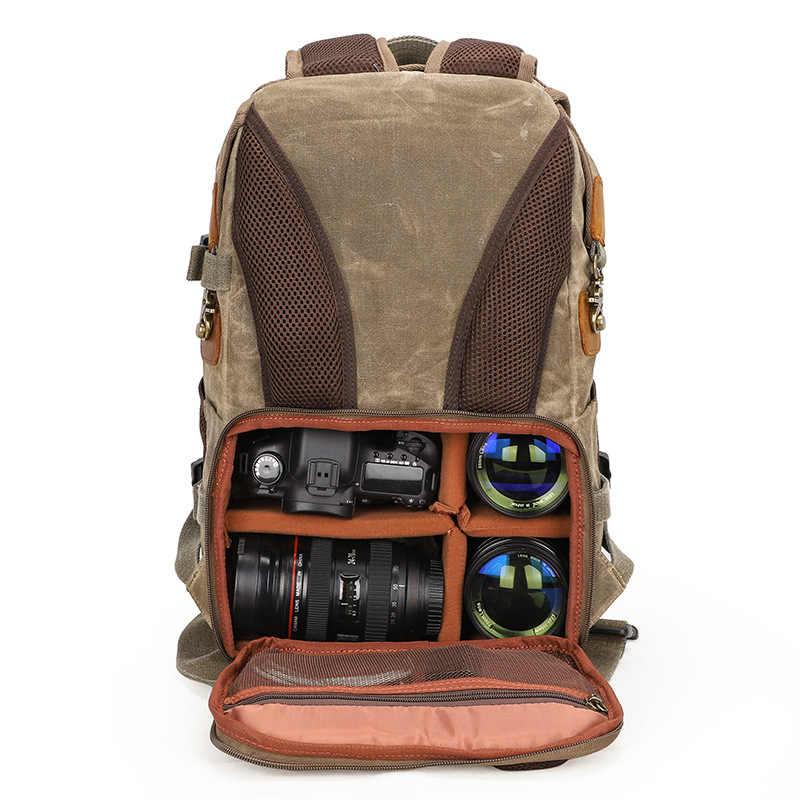 Careell C3040 Tahan Air Batik Kanvas & Kulit Retro Kamera Ransel Kasual Traval Tas untuk Canon Nikon Sony Tripod DSLR
