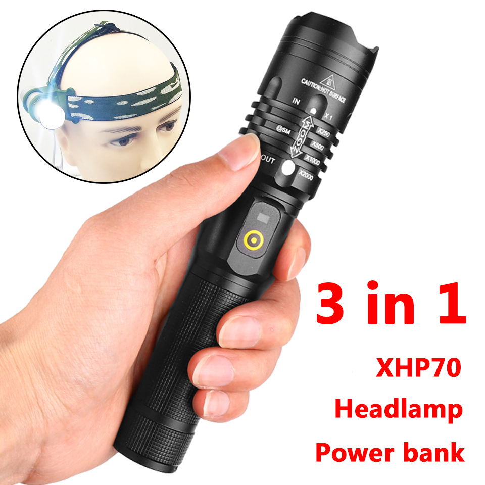 Litwod Z25 Led Flashlight Cree Xhp70 Usb Charging Stretch Zoom Shock Resistant Power Bank 18650 Rechargeable Flashlight Torch