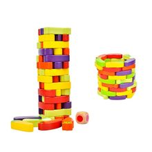 55Pcs Vegetables Wooden Stacking Toys Board Games Building Blocks Education Gift R9UE