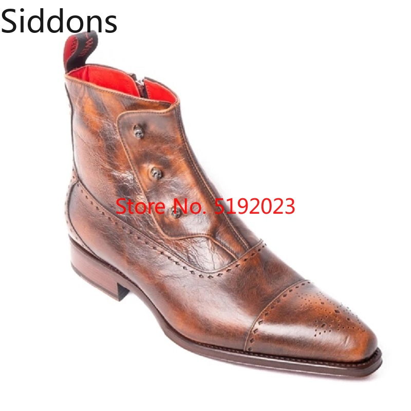 Personalized Winter Fashion Men's PU Leather Chelsea Boots Pointed Toe Ankle Boots Mens Male Casual Zapatos De Hombre D206