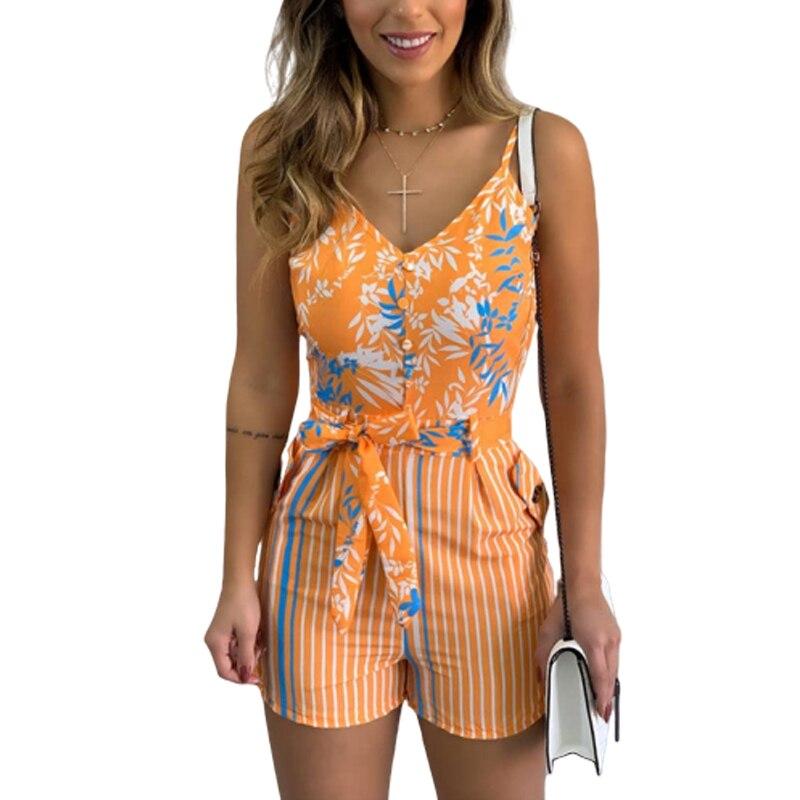 Listrado impresso folha sexy v pescoço espaguete cinta feminina playsuits senhoras verão casual magro bandagem boho macacão sj5920m