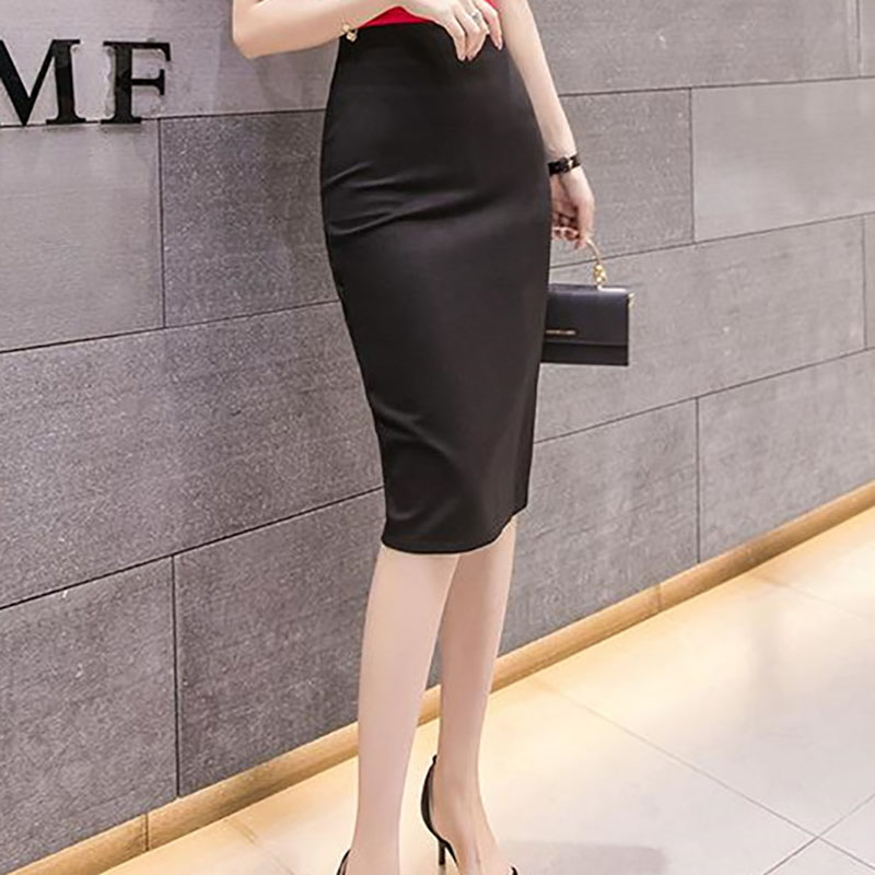 Midi Pencil Skirts OL Elegant High Waist Slit Red Black Skirt 2020 Spring Summer Plus Size Sexy Elastic Bandage Skirts Womens