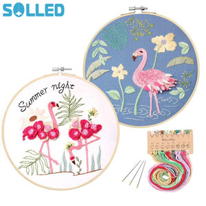Stamped Embroidery Starter Kit with Flamingo Pattern Embroidery Cloth Color Threads Tools Kit
