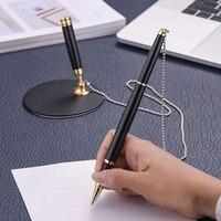 Marcador da assinatura do negócio do escritório do banco do hotel da pena do sinal chain do esferográfica de 1mm com suporte do armazenamento Armazenamento p/ escritório em casa     -