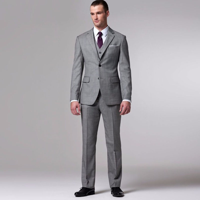 European Fashion Style Grey Men Business Suits Tailor Made Wedding Suit Blazer Formal Tuxedos (Jacket+Pants+Vest)