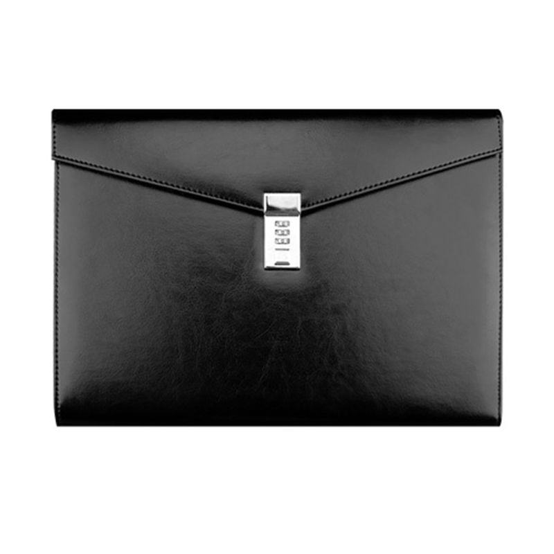 A4 Document File Folder with Password Lock Briefcase Organizer PU Leather Office Manager Bag