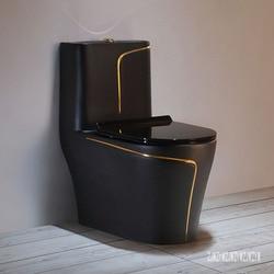 Taza de cerámica negra para el hogar, asiento de bombeo de cerámica, inodoro de sifón superremolino silencioso creativo para el baño, ahorro de agua, 3,0-6,0l